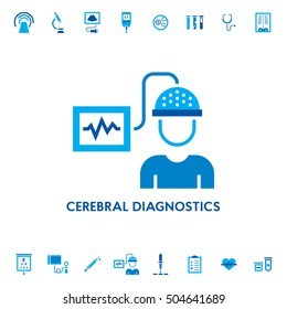 Cerebral brain diagnostic vector icon logo. EEG medical research sign illustration for laboratory, hospital. Clinical doctor equipment on white background. Electroencephalogram check-up