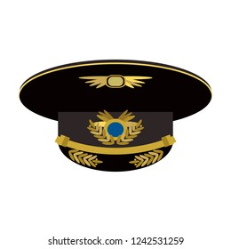 Ceremonial military cap with a band, visor, crown, welt and cockade. Flat. Vector illustration