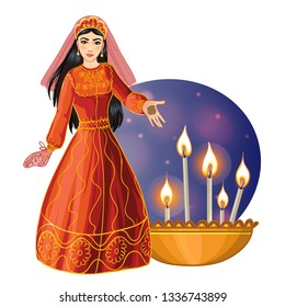 Ceremony at henna night, kina gecesi, a bride  with henna on her palms, vector image, eps10