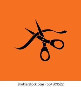 Ceremony ribbon cut icon. Orange background with black. Vector illustration.