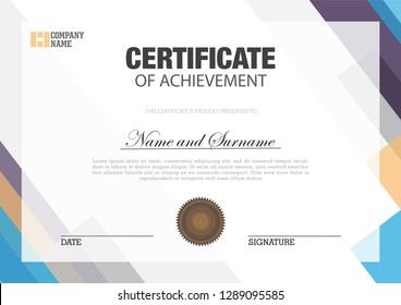 Certificate with abstract element white