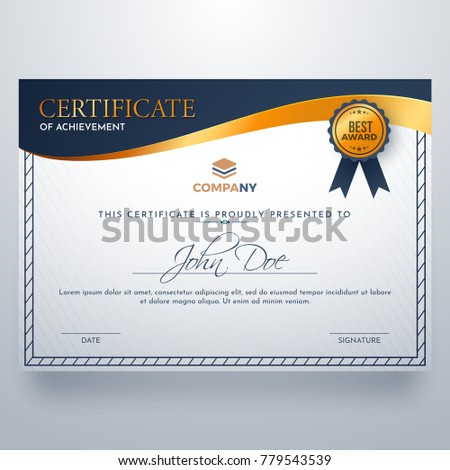 certificate achievement award template glossy golden stock vector