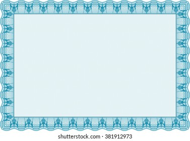 Certificate of achievement. Diploma of completion. With guilloche pattern and background. Sophisticated design. Light blue color.