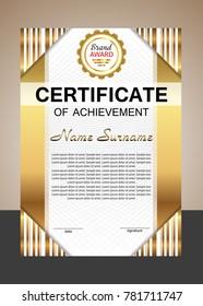 Certificate achievement or diploma. Elegant gold vertical template. Vector illustration.
