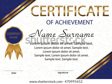 certificate achievement diploma elegant light background stock