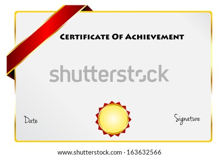 certificate of achievement diploma of excellence certificate with gold ribbon vector