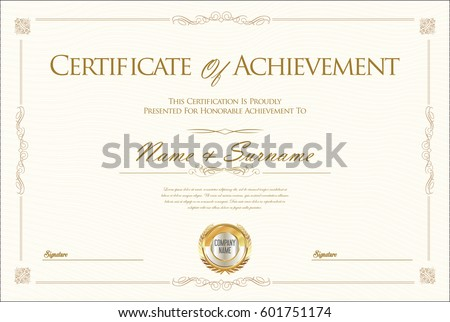 Certificate Of Achievement | Certificate Achievement Diploma Template Stock Vektorgrafik