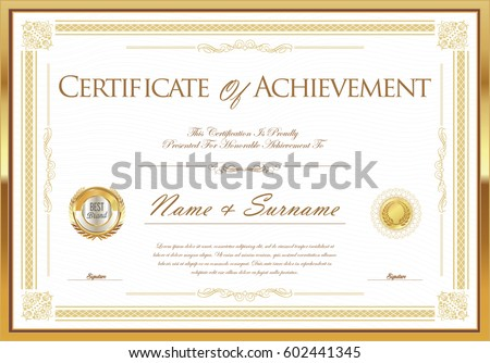 certificate achievement diploma template stock vector royalty free