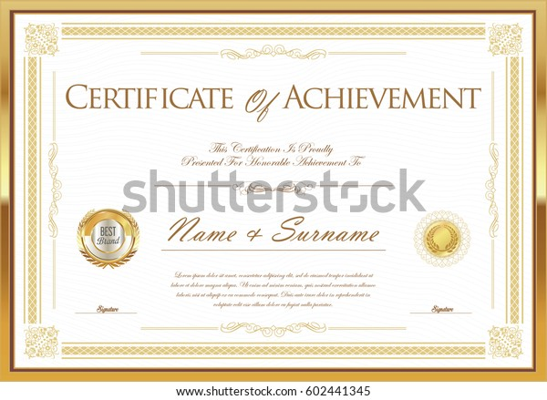 Certificate Achievement Diploma Template Stock Vector Royalty