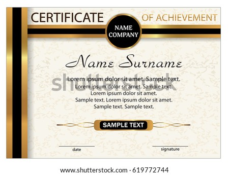 certificate of achievement diploma template with gold and black ribbon reward winning