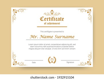 Certificate of achievement or diploma template, vector illustration