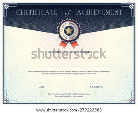 certificate achievement frame design template stock vector royalty