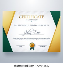 Certificate of achievement in glossy yellow and green color.