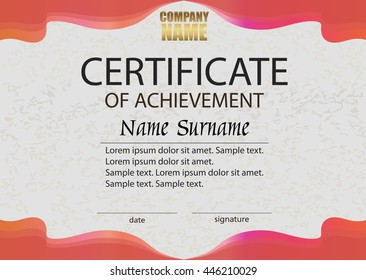 Certificate Achievement Diploma Template Vertical Reward Stock
