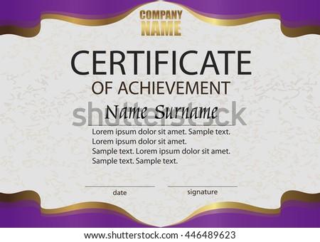 certificate achievement reward winning competition award stock