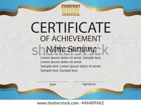 Certificate Achievement Reward Winning Competition Award Stock ...