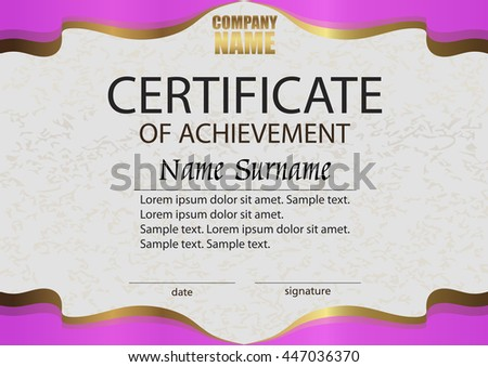 certificate of achievement reward winning the competition award winner horizontal pink and