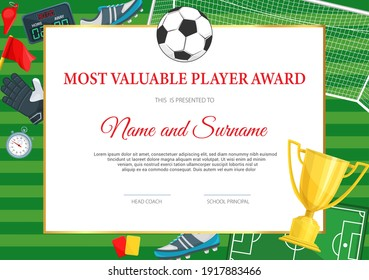 Certificate of achievement in soccer game. Football player diploma vector template with ball and golden goblet. Sports team award border design, diploma for participation in soccer tournament league