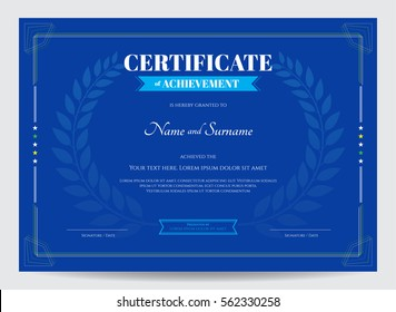 Certificate of achievement template with award laurel crest on blue background