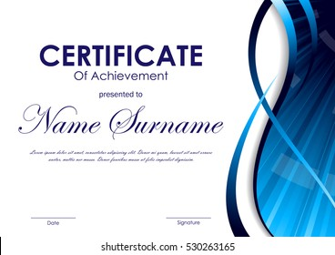 Certificate of achievement template with blue dynamic wavy swirl curved background. Vector illustration