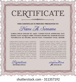 Certificate of achievement template. With complex linear background. Vector pattern that is used in money and certificate.Lovely design.