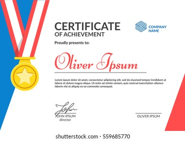 Certificate of Achievement template. Cool flat design. Eps10 vector.