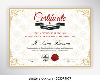 Certificate of achievement template design. Vector illustration