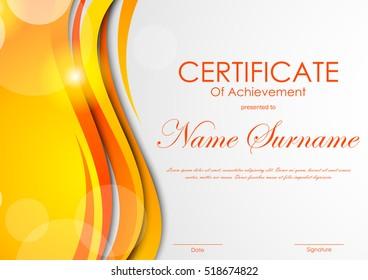 Certificate of achievement template with digital light orange bent wavy background. Vector illustration