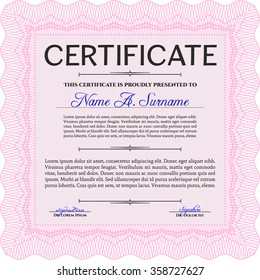 Certificate of achievement template. Easy to print. Complex design. Vector certificate template.