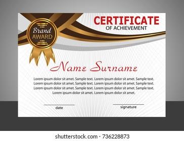Certificate of achievement template. Elegant design. Vector illustration.