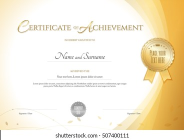 Certificate of achievement template with environment theme in gold color
