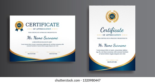 Certificate of achievement template, gold and blue color. Clean modern certificate with gold badge. Certificate template with luxury and modern pattern. Diploma vector template