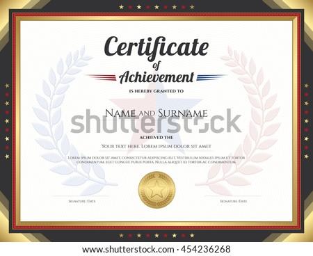 certificate achievement template gold border theme のベクター画像