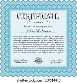 Certificate of achievement template. Good design. Vector pattern that is used in currency and diplomas.With background.