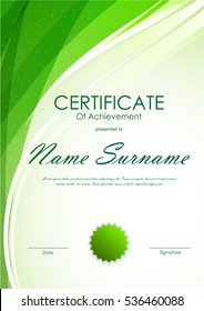 Certificate of achievement template with green dynamic light wavy swirl background and seal. Vector illustration
