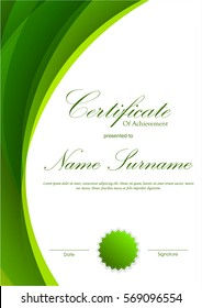 Certificate of achievement template with green dynamic wavy background and seal. Vector illustration