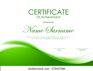 Certificate of achievement template with green dynamic elegant soft wavy background. Vector illustration
