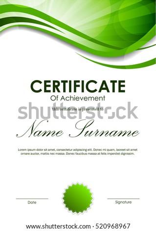 certificate achievement template green dynamic wavy のベクター画像