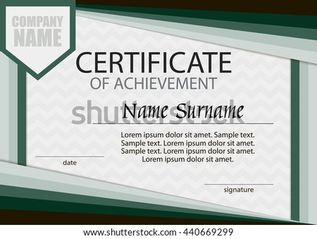 Certificate Achievement Template Horizontal Winning Competition