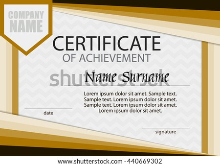Certificate Achievement Template Horizontal Winning Competition