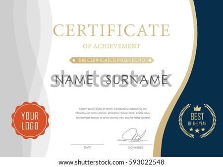 certificate achievement template certificate template modern stock