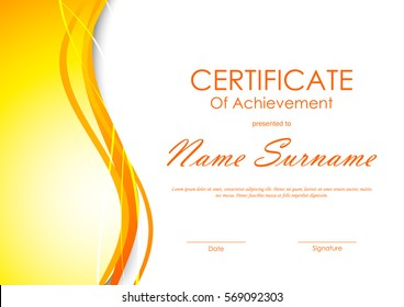 Certificate of achievement template with orange soft wavy light background. Vector illustration