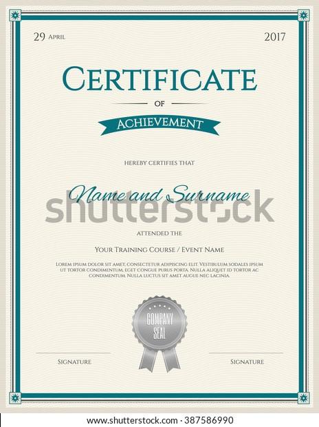 Certificate Achievement Template Portrait Orientation Graduation