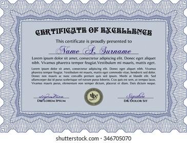 Certificate of achievement template. Printer friendly. Superior design. Frame certificate template Vector.