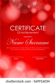 Certificate of achievement template with red blurred bright background. Vector illustration