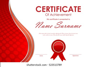 Certificate of achievement template with red digital circle surface wavy background and label. Vector illustration