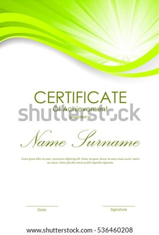 certificate achievement template shiny green wavy stock vector