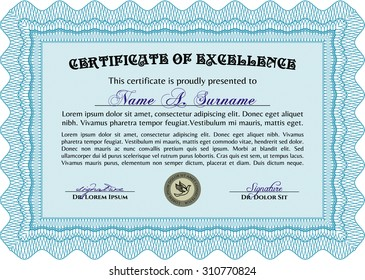 Certificate of achievement template. Superior design. Vector pattern that is used in currency and diplomas. Printer friendly.