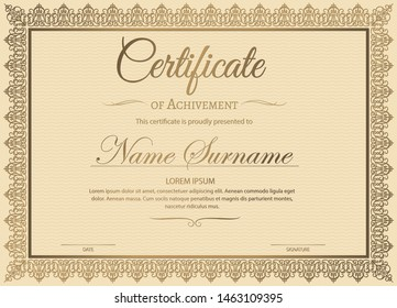 Certificate of achievement template in vector with applied Thai line in yellow gold tone - Vector