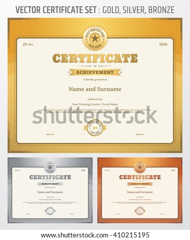 Certificate Achievement Template Vector Gold Silver Stock Vector